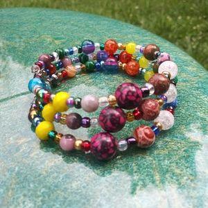 Hand Crafted Gem Stone Beaded Bracelet Festival
